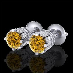 3 CTW Intense Fancy Yellow Diamond Art Deco Stud Earrings 18K White Gold - REF-349F3M - 37364