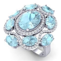 9.26 CTW Royalty Sky Topaz & VS Diamond Ring 18K White Gold - REF-178H2W - 39303