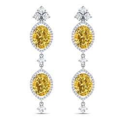 12.21 CTW Royalty Canary Citrine & VS Diamond Earrings 18K White Gold - REF-254K5R - 38919