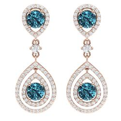 3.94 CTW Royalty Fancy Blue, SI Diamond Earrings 18K Rose Gold - REF-336W4H - 39115