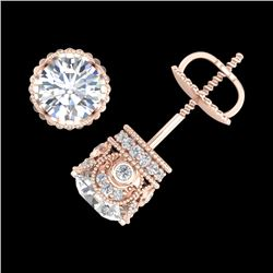 1.85 CTW VS/SI Diamond Solitaire Art Deco Stud Earrings 18K Rose Gold - REF-234Y5N - 36858