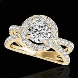 2.01 CTW H-SI/I Certified Diamond Solitaire Halo Ring 10K Yellow Gold - REF-209Y3N - 34027