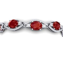 22.15 CTW Royalty Ruby & VS Diamond Bracelet 18K White Gold - REF-418R2K - 38961