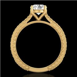 1.45 CTW VS/SI Diamond Art Deco Ring 18K Yellow Gold - REF-400W2H - 37006