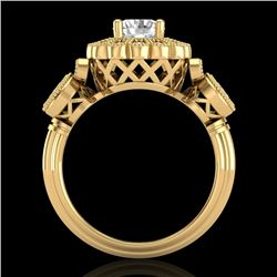 1.5 CTW VS/SI Diamond Solitaire Art Deco 3 Stone Ring 18K Yellow Gold - REF-300K2R - 37060