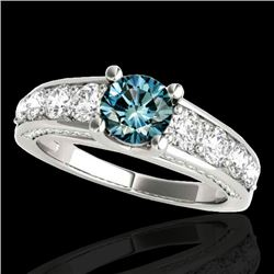 2.55 CTW SI Certified Fancy Blue Diamond Solitaire Ring 10K White Gold - REF-254K5R - 35512