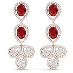 9.75 CTW Royalty Designer Ruby & VS Diamond Earrings 18K Rose Gold - REF-309R3K - 39082