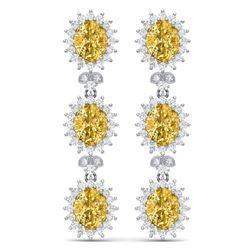 19.06 CTW Royalty Canary Citrine & VS Diamond Earrings 18K White Gold - REF-336W4H - 38652
