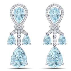 40.01 CTW Royalty Sky Topaz & VS Diamond Earrings 18K White Gold - REF-290K9R - 38613