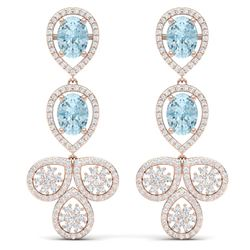 9.55 CTW Royalty Sky Topaz & VS Diamond Earrings 18K Rose Gold - REF-272T8X - 39091