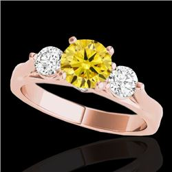 1.5 CTW Certified Si Intense Yellow Diamond 3 Stone Solitaire Ring 10K Rose Gold - REF-180N2Y - 3537