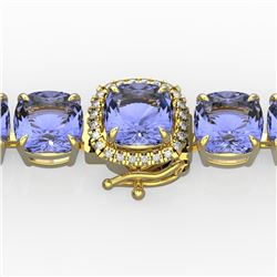 40 CTW Tanzanite & VS/SI Diamond Bracelet 14K Yellow Gold - REF-548H2W - 23326
