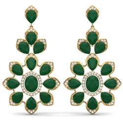 51.8 CTW Royalty Emerald & VS Diamond Earrings 18K Yellow Gold - REF-527X3T - 39047