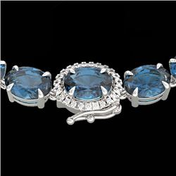 45.25 CTW London Blue Topaz & VS/SI Diamond Tennis Micro Halo Necklace 14K White Gold - REF-236W4H -