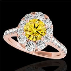 2 CTW Certified Si Fancy Intense Yellow Diamond Solitaire Halo Ring 10K Rose Gold - REF-210H9W - 340