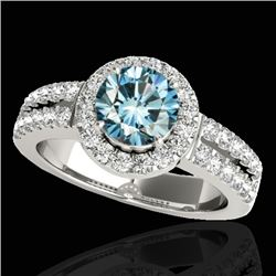1.5 CTW SI Certified Fancy Blue Diamond Solitaire Halo Ring 10K White Gold - REF-180Y2N - 33994