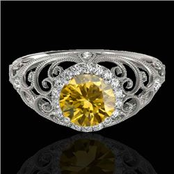 1.22 CTW Certified Si Fancy Intense Yellow Diamond Solitaire Halo Ring 10K White Gold - REF-170R9K -