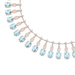 65.76 CTW Royalty Sky Topaz & VS Diamond Necklace 18K Rose Gold - REF-945T5X - 39133