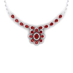 38.46 CTW Royalty Ruby & VS Diamond Necklace 18K White Gold - REF-654W5H - 39033