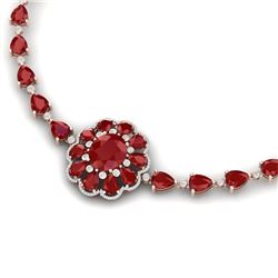78.98 CTW Royalty Ruby & VS Diamond Necklace 18K Rose Gold - REF-763H6W - 39172