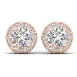 4 CTW Certified VS/SI Diamond Art Deco Stud Earrings 14K Rose Gold - REF-1071W6H - 30529