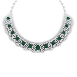 50.44 CTW Royalty Emerald & VS Diamond Necklace 18K White Gold - REF-1709M3F - 39375