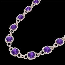 66 CTW Amethyst & Micro VS/SI Diamond Eternity Necklace 14K Rose Gold - REF-794H5W - 23036