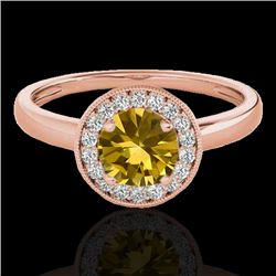 1.15 CTW Certified Si Fancy Intense Yellow Diamond Solitaire Halo Ring 10K Rose Gold - REF-152M8F -