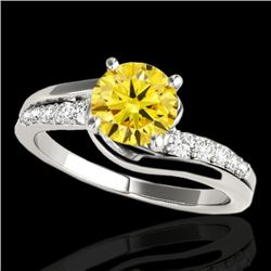 1.31 CTW Certified Si Intense Yellow Diamond Bypass Solitaire Ring 10K White Gold - REF-156M4F - 351