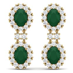 8.98 CTW Royalty Emerald & VS Diamond Earrings 18K Yellow Gold - REF-218W2H - 38810