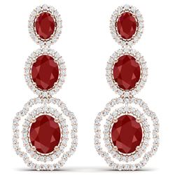17.51 CTW Royalty Designer Ruby & VS Diamond Earrings 18K Rose Gold - REF-345K5R - 39205
