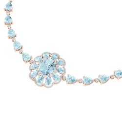 75.99 CTW Royalty Sky Topaz & VS Diamond Necklace 18K Rose Gold - REF-472X8T - 39178