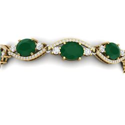22.15 CTW Royalty Emerald & VS Diamond Bracelet 18K Yellow Gold - REF-418M2F - 38960