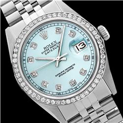 Rolex Men's Stainless Steel, QuickSet, Diamond Dial & Diamond Bezel - REF-441N8F