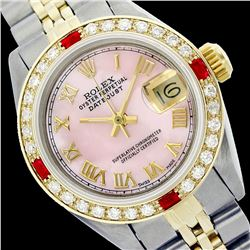 Rolex Men's Two Tone 14K Gold/SS, QuickSet, Roman Dial with Diam/Ruby Bezel - REF-452N7F