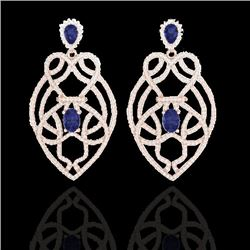 7 CTW Tanzanite & Micro VS/SI Diamond Heart Earrings Solitaire 14K Rose Gold - REF-381W8H - 21142