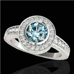 2 CTW SI Certified Blue Diamond Solitaire Halo Ring 10K White Gold - REF-261K8R - 33905