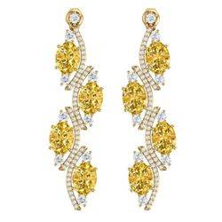 13.32 CTW Royalty Canary Citrine & VS Diamond Earrings 18K Yellow Gold - REF-236W4H - 38993