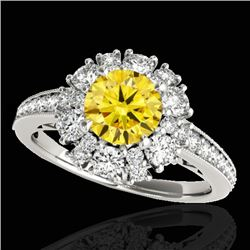 2.16 CTW Certified Si Fancy Intense Yellow Diamond Solitaire Halo Ring 10K White Gold - REF-221K8R -
