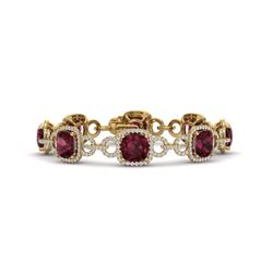 30 CTW Garnet & VS/SI Diamond Certified Bracelet 14K Yellow Gold - REF-368T9X - 23025