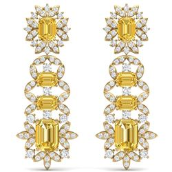 27.75 CTW Royalty Canary Citrine & VS Diamond Earrings 18K Yellow Gold - REF-518X2T - 39419