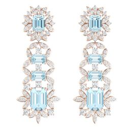 33.36 CTW Royalty Sky Topaz & VS Diamond Earrings 18K Rose Gold - REF-527H3W - 39415