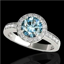 2 CTW SI Certified Blue Diamond Solitaire Halo Ring 10K White Gold - REF-254M5F - 34356