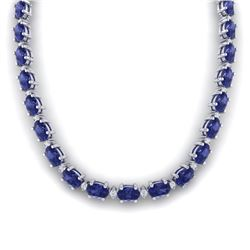 61.85 CTW Tanzanite & VS/SI Certified Diamond Necklace 10K White Gold - REF-1104W9H - 29519
