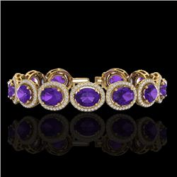 24 CTW Amethyst & Micro Pave VS/SI Diamond Certified Bracelet 10K Yellow Gold - REF-360W2H - 22679
