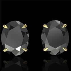 10 CTW Black VS/SI Diamond Designer Solitaire Stud Earrings 18K Yellow Gold - REF-218T5X - 21656