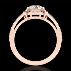 1 CTW VS/SI Diamond Solitaire Art Deco Ring 18K Rose Gold - REF-318N3Y - 36873