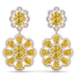 29.9 CTW Royalty Canary Citrine & VS Diamond Earrings 18K Rose Gold - REF-345K5R - 39166