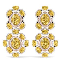 29.21 CTW Royalty Canary Citrine & VS Diamond Earrings 18K Rose Gold - REF-409X3T - 39325