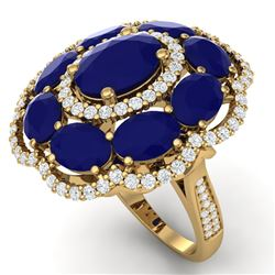 14.4 CTW Royalty Designer Sapphire & VS Diamond Ring 18K Yellow Gold - REF-250Y9N - 39191